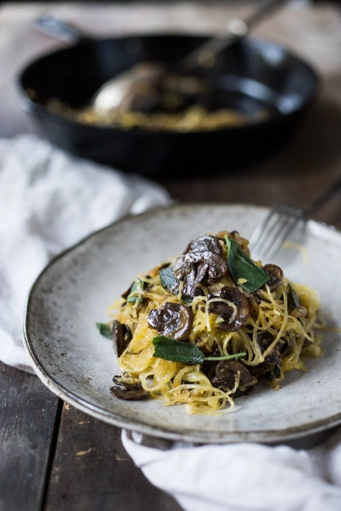 Roasted Spaghetti Squash with mushrooms, garlic and sage- a flavorful ...