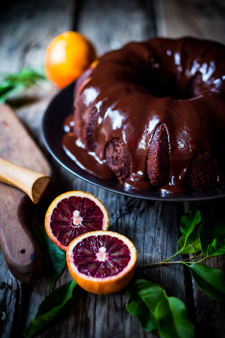 Dark Chocolate Bundt Cake with Blood Oranges
