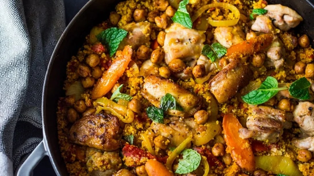 Sauteed Chicken Chunks With Harissa And Couscous Recipe — Dishmaps