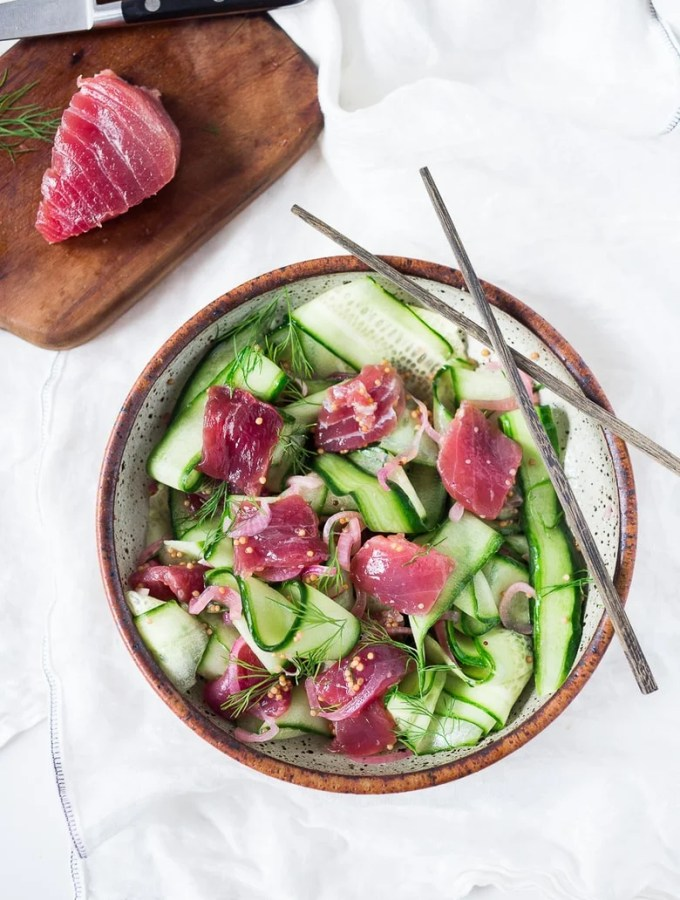 Cucumber Ahi Salad with dill and mustard seeds, a light fresh and healthy meal. | www.feastingathome.com