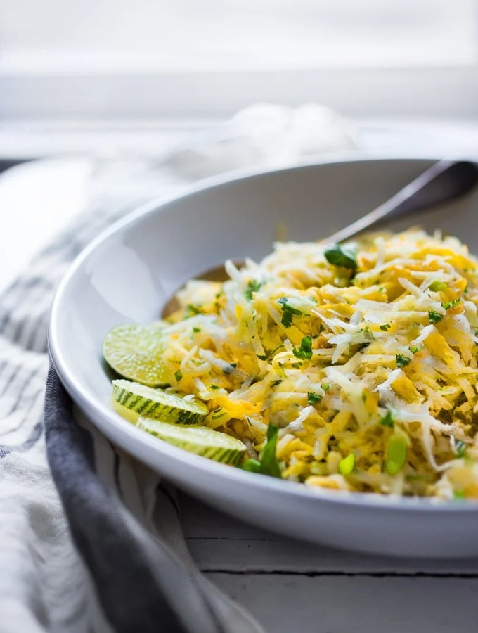 A simple tasty recipe for Jicama Mango Slaw with cilantro and lime!