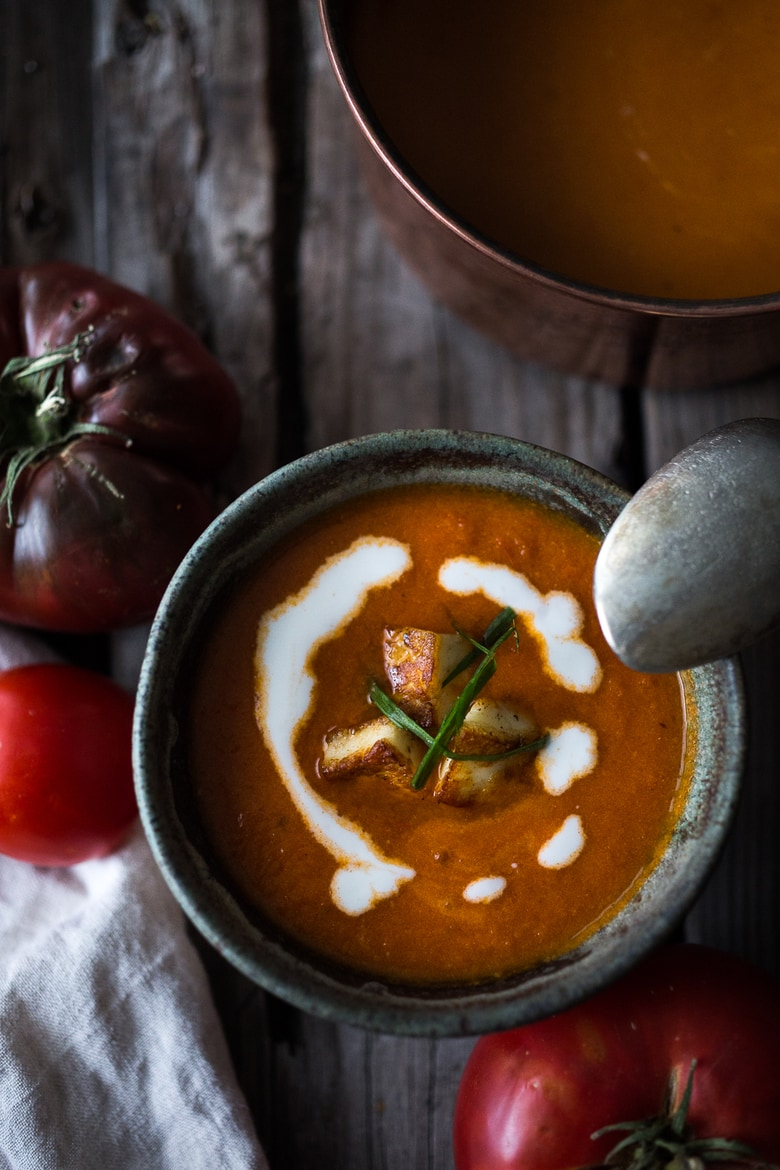 Roasted Tomato Soup with Haloumi Croutons, Yogurt & Sumac