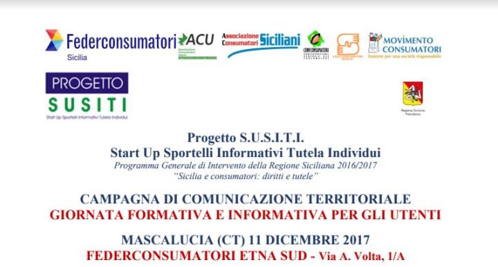 Progetto Susiti diritti dei consumatori, giornata informativa a Mascalucia