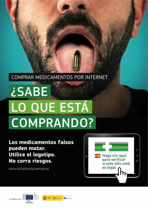 Cartel de la campaña contra la compra de medicamentos falsos por Internet.