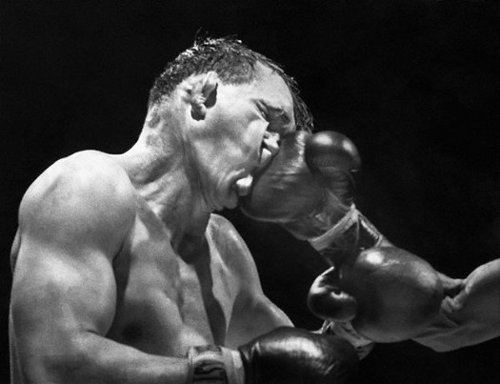 Gene Fullmer Being Hit During Boxing Match