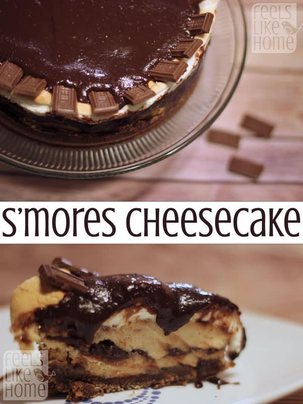 S'mores Cheesecake - This smooth, sweet cheesecake oozes with my favorite flavors - the sticky sweetness of marshmallows and the rich gooeyness of homemade hot fudge. You MUST try this!