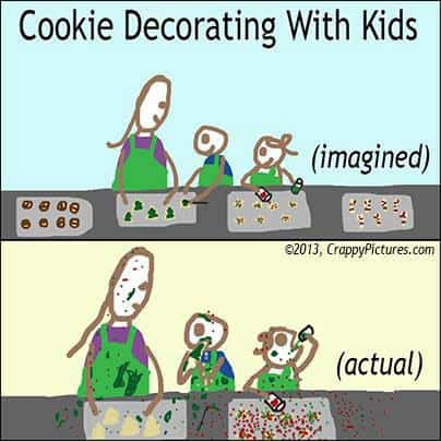 a cartoon showing kids cooking and making a mess