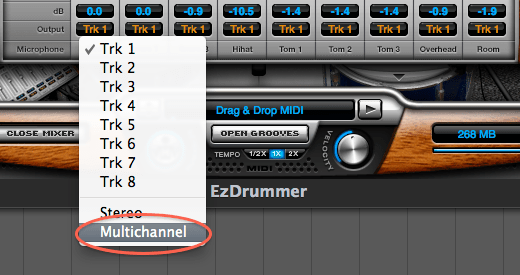 In EZdrummer's mixer, chose Multichannel