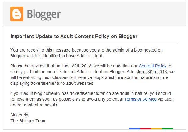 O possível fim do conteúdo Adulto no Blogger