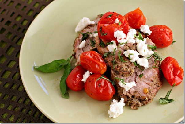 Roasted Pork Tenderloin with Crumbled Goat Cheese and Blistered Tomatoes