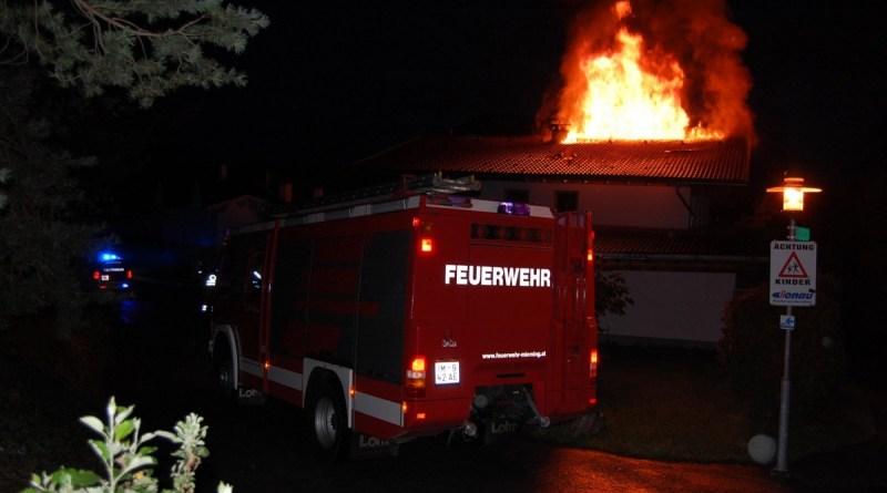 Einfamilienhaus – Dachstuhlbrand in Weidach