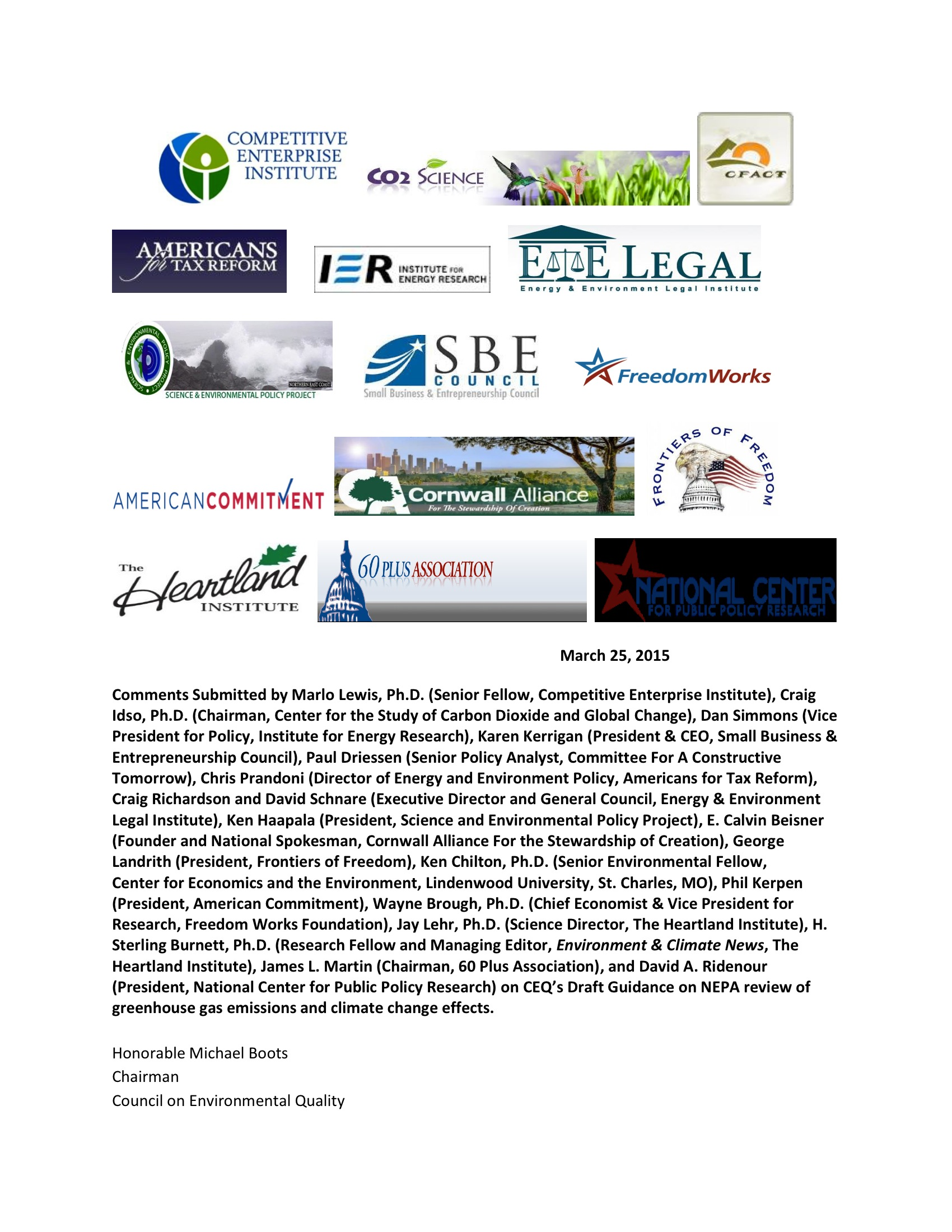 Marlo Lewis Competitive Enterprise Institute and Free Market Allies Comment Letter on NEPA GHG Guidance Document 73-1