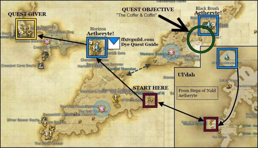 Color your world guide FFXIV ARReborn Dye quest guide map