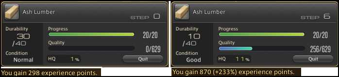 ffxiv arr reborn crafting guide high quality vs no quality