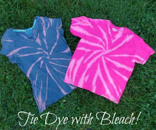 Tie Dye T Shirt with Bleach, Fiberartsy.com