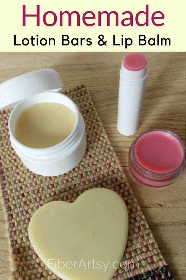 Homemade Lotion Bars and Lip Balm Easy DIY Beauty Recipe by FiberArtsy.com