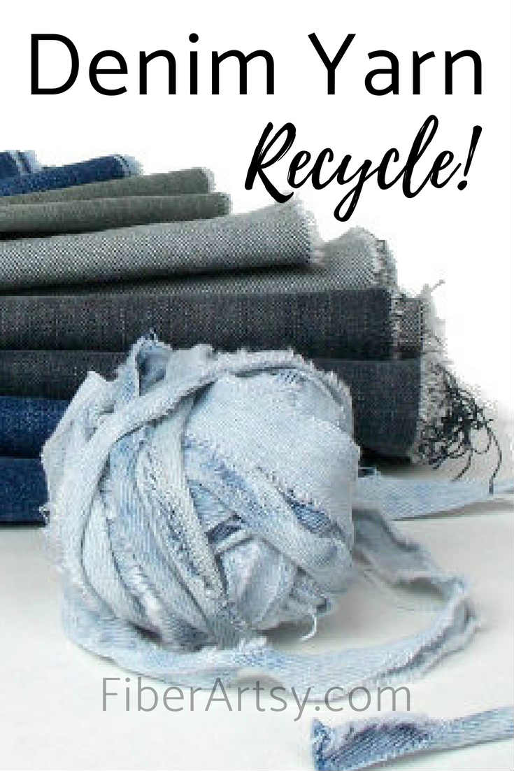 How to Make DIY Denim Yarn from Jeans by FiberArtsy
