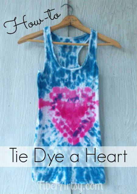 how to tie dye a heart - fiberartsy.com