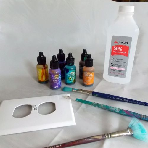 Supplies for painting with alcohol inks