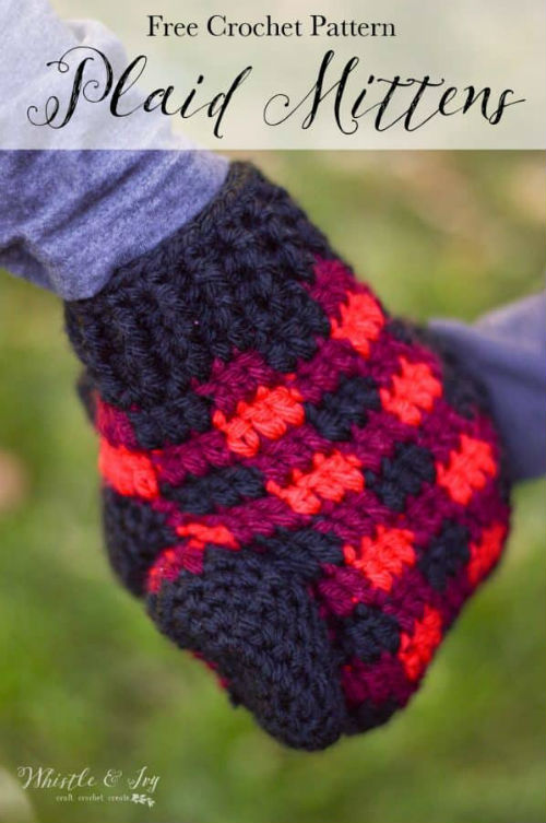 Plaid Crochet Mittens, Free Patterns