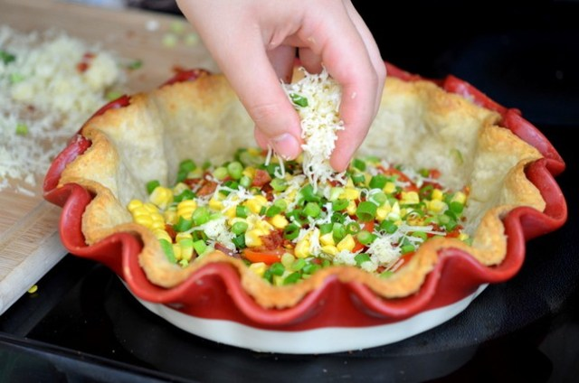 Tomato Gruyere Corn Quiche