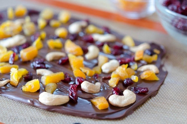 French Chocolate Bark with Cranberries, Cashews, Apricots