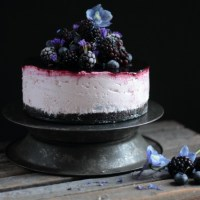 Blackberry and Blueberry No Bake Cheesecake with Oreo Base