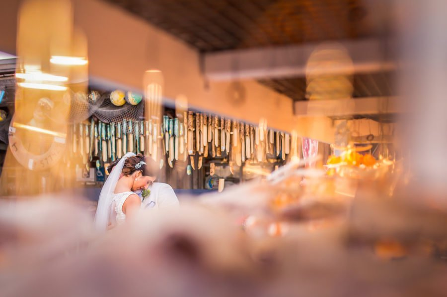 bride and groom having emotional moment downtown key west florida