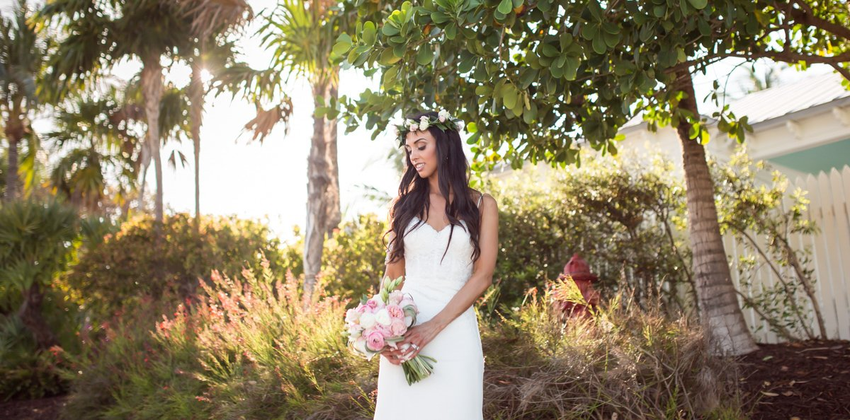 photo of bride holding bouquet on her sunset key florida wedding