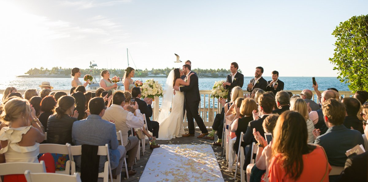 first kiss at ocean key resort wedding in key west florida