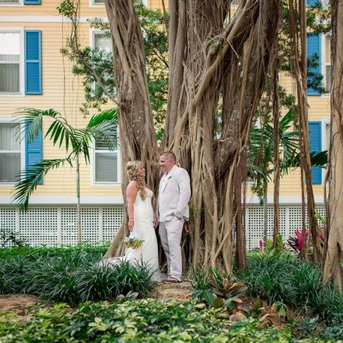 bride with groom posing by banyan tree at sheraton suites in key west florida