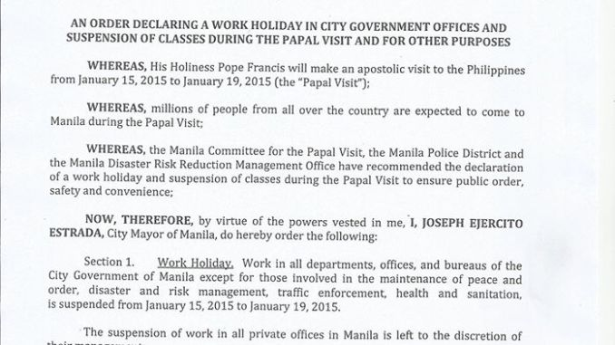 january 15 to 19 holiday in manila