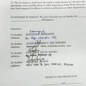 A photo of the co-authorship agreement between Dr. Racidon Bernarte and the three student-researchers (Credits: Facebook page of Professor Cherry Cabigon-Pebre)