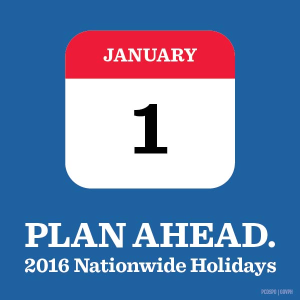 Proclamation 1105: Philippine holidays for 2016