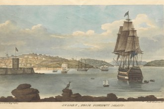 Sydney from Pinchgut Island in about 1826, when Robert arrived