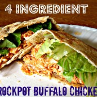 Healthy 4 Ingredient Slow Cooker Buffalo Chicken
