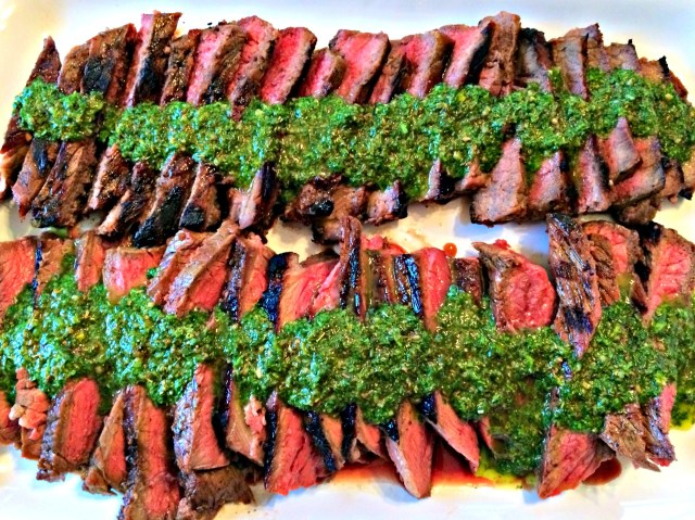 Garlic brown sugar flank steak with chimichurri.  Oh Em Gheeee