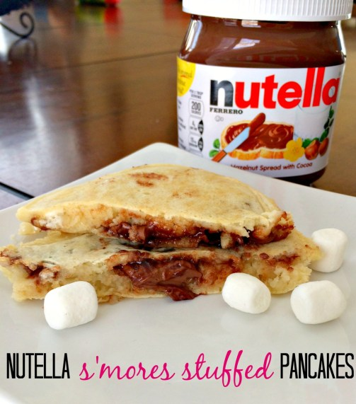 Nutella s'mores stuffed pancakes! Perfect Valentine's Day breakfast!