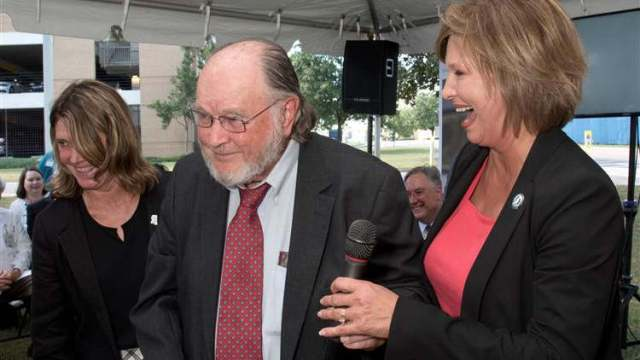 UMMC celebrated the naming of its newest school, the John D. Bower School of Population Health, on September 19. Addressing the crowd are Bower Foundation CEO Anne Travis, left, UMMC professor emeritus Dr. John Bower, and Dr. LouAnn Woodward, vice chancellor for health affairs. Image: UMMC