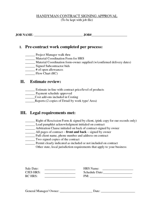 Handyman Contract Templates Find Word Templates