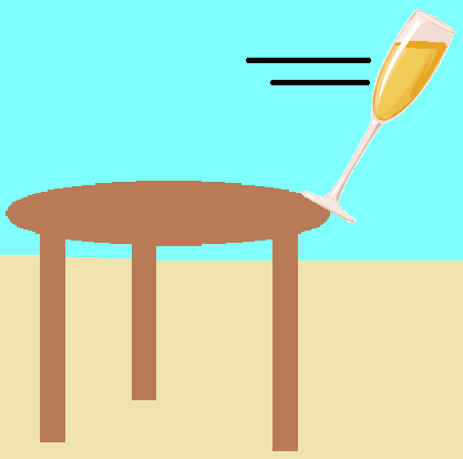 Champagne Falling From Table