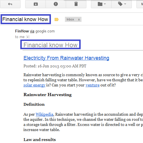 Finhow.com Feedburner Email with Financial know How