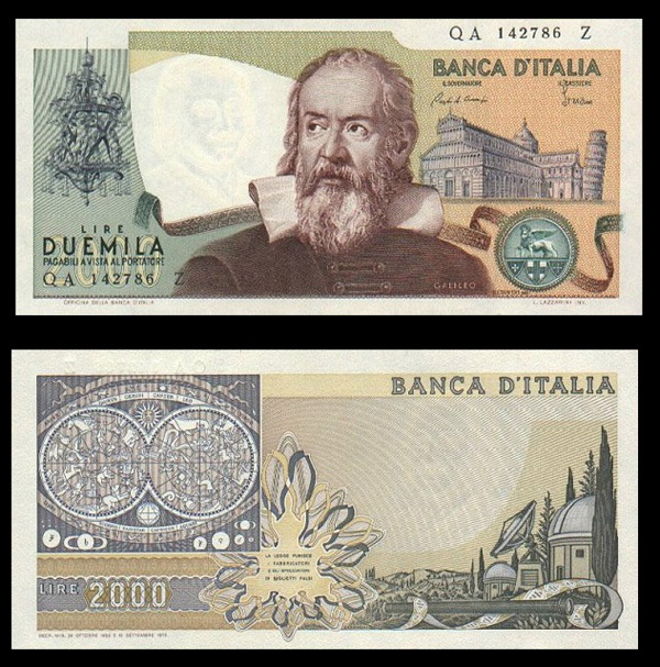 "Galileo Galilei, le ""Duemila lire"""