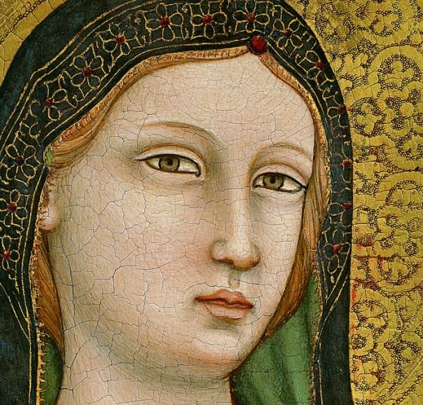 Maestro di Figline, Madonna col Bambino in trono fra sei angeli, sant'Elisabetta d'Ungheria e san Ludovico di Tolosa, particolare