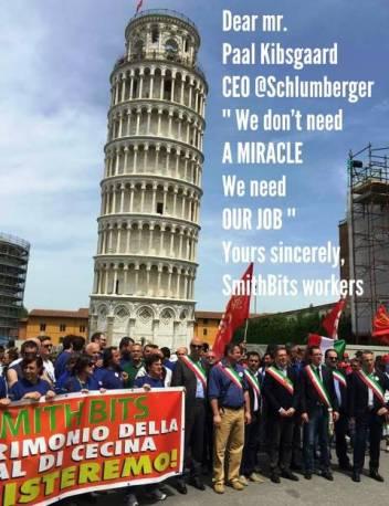 Gli operai della Smith di Saline di Volterra in corteo a Pisa (foto Facebook Luciano Picchi)