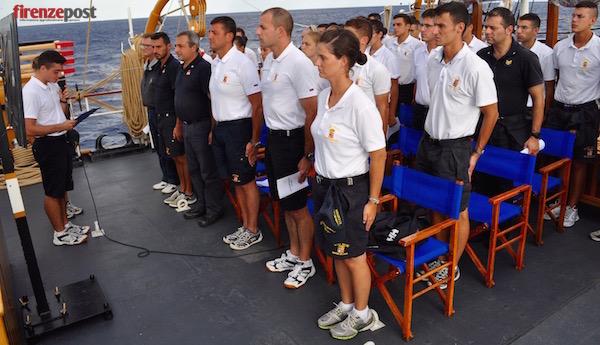 Commemorazione della medaglia d'oro Emilio Bianchi sul ponte di Nave Palinuro