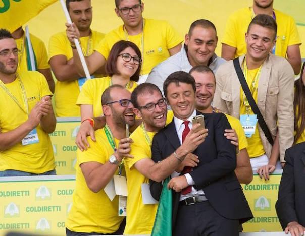 Il premier Matteo Renzi all'assemblea di Coldiretti