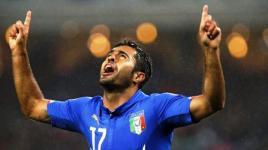 Azerbaigian-Italia, Eder esulta dopo il gol del vantaggio