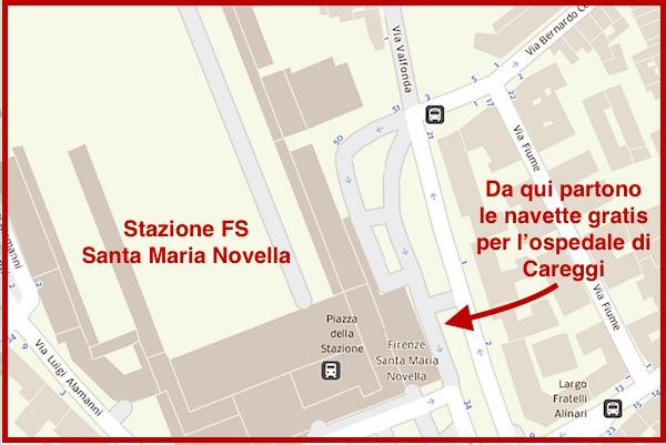La zona dove fermeranno i taxi navetta gratuiti per l'ospedale di Careggi