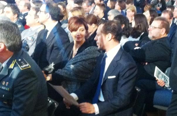Firenze, Laura Morante e Stefano Accorsi nel Salone dei Cinquecento